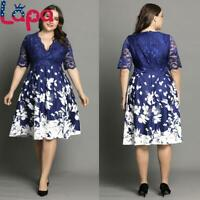 LAPA Plus Size Women Printed Lace Half Sleeve Midi Dress V-Neck Party Evening
