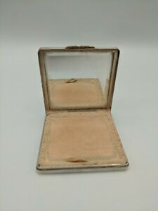 Art Deco Engine Turned Silver Compact With Rose Gold Clasp L.E McCann Bham 1943