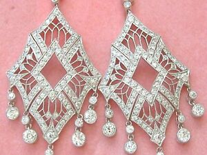 4ct Natural Diamond (G-H) 950 Platinum Chandelier Cocktail Earring SI1 Birthday