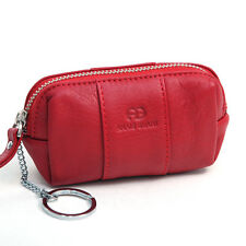 New Anais Gvani Genuine Leather Purse Coin Case Key Chain Zip Around Pouch Red