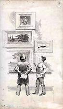 ORIGINAL ca 1886 MAGAZINE ILLUSTRATION  INK DRAWING ON REYNOLD'S BRISTOL BOARD