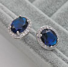 18K White Gold Filled - 8*10MM Navy Blue Oval Topaz Party Women Earrings Jewelry