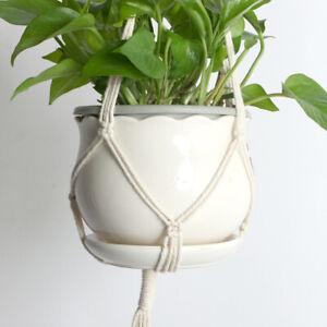 1 Pcs Macrame Jute Plant Hanger Holder Hanging Basket Pot Planter Braided Rope