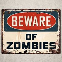 PP0003 Vintage Beware of Zombies Plate Rustic Sign Room Office Decor Gift