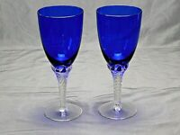 "Set of 2 Cobalt Blue Twist Stem Wine Water Glass Goblets 8"" A-9"