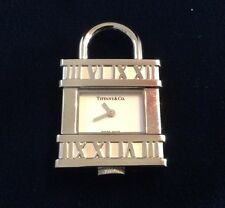 Tiffany & Co. Stainless Atlas Clock Watch Lock Charm 4 Necklace Or Bracelet