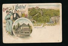 Germany Gruss aus Hotel Stadt DRESDEN Used 1905 u/b PPC faults