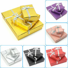 2 X High Quality Jewellery Gift Boxes Bag Necklace Bracelet  8.5x8.5x2cm Gold