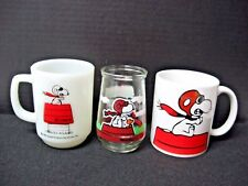 LOT 3 SNOOPY red baron ANCHOR HOCKING + ceramic COFFEE MUGS + Welch's Glass