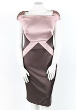 TALBOT RUNHOF Pink Taupe Color Block Duchesse Satin Sheath Dress Size 14 NWT