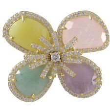 Gold Finish Sterling Silver Gemstone and Cubic Zirconia Flower Brooch