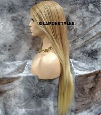 Human Hair Blend Hand Tied Monofilament Lace Front Full Wig Long Medium Blonde