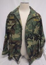 USA Army Combat Cold Weather Jacket Uniform Large Long With Patches & Pins Camo
