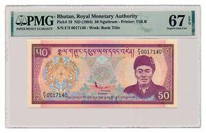 BHUTAN banknote 50 Ngultrum 1994 PMG MS 67 EPQ Superb Gem Uncirculated