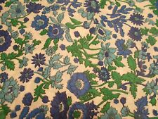 Vintage Blue Floral Print Silky Type Fabric 1 1/2 Yards