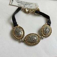 LUCKY BRAND BLACK FAUX LEATHER BRACELET with LARGE BEADS