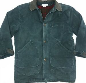 Vintage 90s LL Bean Green Chore Coat Jacket Distressed Men Large Tall USA