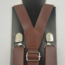 Men's Suspenders High Quality Clips-On Pants Braces Synthetic Leather Suspender