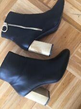 Sexy Damen Stiefeletten Stiefel Gr 38 Schuhe schwarz gold Absatz top Primark