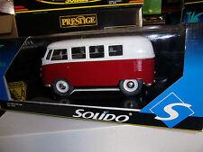 1/18 SOLIDO Prestige 8031 VW COMBI Vitre 1966 Rouge & Blanc NEUF EN BOITE