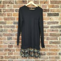 Next Black Floral Jumper Dress Size 10 Long Sleeve Knitted