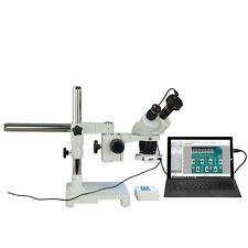 Binocular 10X-20X-40X 3Mp Digital Stereo Boom Stand Microscope w 144 Led Light