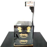 Rare Japanese Vintage Hina Doll Miniature Sewing Box Haribako Lacquer Decor