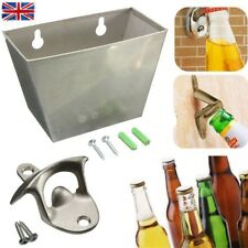 Stainless Wall Mount Bar Beer Bottle Opener Cap Catcher Box + Screws + Opener UK