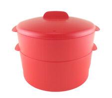 Tupperware Red 2 Layer Steam It Enhanced Steamer Cookware Food Preparation