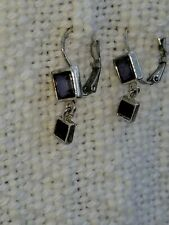 Dark Dangle Square Earrings