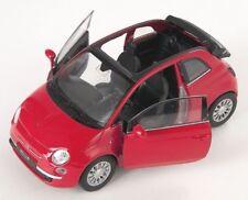BLITZ VERSAND Fiat 500 C 2010 offen rot / red Welly Modell Auto 1:34 NEU & OVP 1