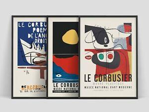 Set of 3 Le Corbusier Exhibition Art Retro Vintage Wall Art Prints.