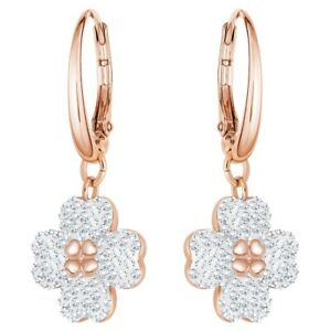 Latisha Pierced Earrings White, Rose-gold tone plated