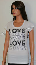 NEW Guess Logo Rhinestud T-shirt Tee Top White Size M NWT