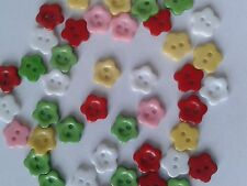 50 FLOWER SHAPED/2 HOLE CRAFT/SEWING BUTTONS - MIXED COLOURS