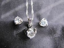"Valentines Love Heart Pendant+Silver Plated 17"" Necklace+Earrings Set"