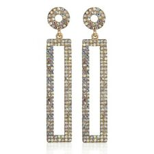 Geometric Austrian Crystal Rhinestone Chandelier Dangle Earrings Studs H22 Gold