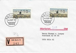 Berlin Beleg Atm 250+280 Lettre de Valeur