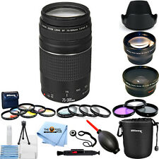 Canon EF 75-300mm f/4-5.6 III Lens (Black) Mega 3 Lenses Filter Kit Bundle