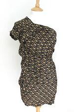 Isabel Marant shoulder brown print frill dress 1 uk 8