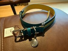 NWT COACH YELLOW/BLUE STRIPE LEATHER DOG COLLAR WITH ROUND CHARM SIZE L #60407