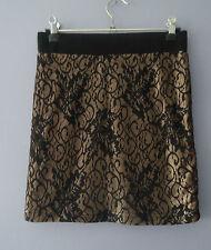 Lovely FOREVER 21 Fully Lined Mini Skirt *Size 10 S/Petite *Black & Gold Lace