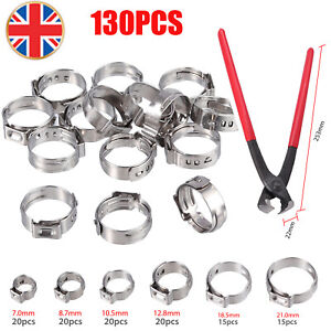 130pcs Single Ear Stepless Hose Clamp Tool Kit 304 Stainless Steel 6-21mm Clamps