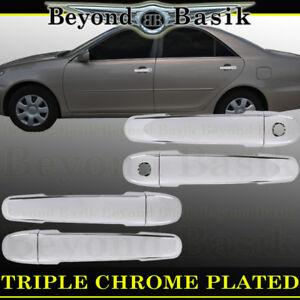 For 2003-2008 Toyota Corolla TRIPLE Chrome Door Handle Covers Overlays w/PSK