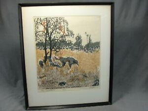 "Rare MCM 4 Color R Claflin ""Tree Dwellers"" Woodblock Print 2/15 Signed 1964"