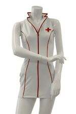 Guilty Pleasure White Datex Nurse Costume Sexy Latex Dress Role Play Cosplay