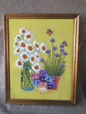 "Finished Needlecrafts Crewel Crafts Vintage professionally framed 20""x 25"""