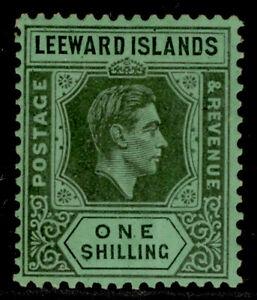LEEWARD ISLANDS GVI SG110, 1s black/emerald, LH MINT. Cat £18. CHALKY