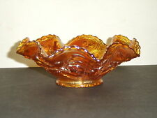 """Vintage IMPERIAL Glass OPEN ROSE Marigold Carnival Glass 8"""" Ruffled Rim Bowl"""