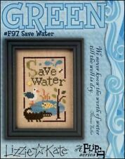 10% Off Lizzie Kate counted x-stitch chart - Green - Save Water